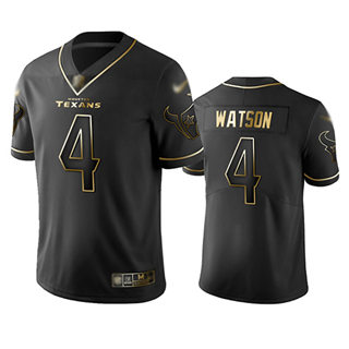 Men's Texans #4 Deshaun Watson Black Stitched Football Limited Golden Edition Jersey