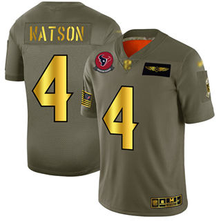 Men's Texans #4 Deshaun Watson Camo Gold Stitched Football Limited 2019 Salute To Service Jersey