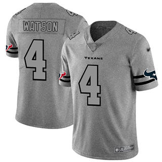 Men's Texans #4 Deshaun Watson Gray Stitched Football Limited Team Logo Gridiron Jersey