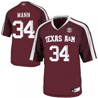 Men's Texas A&M Aggies #34 Braden Mann Jersey NCAA Red 19-20