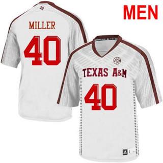 Men's Texas A&M Aggies #40 Von Miller 2019 NCAA Football Jersey White