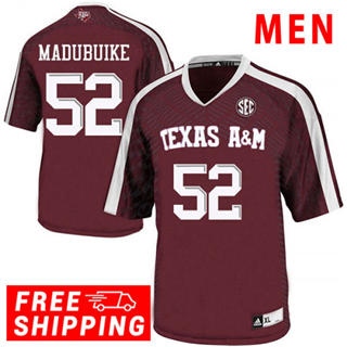 Men's Texas A&M Aggies #52 Justin Madubuike NCAA Football Jersey Red