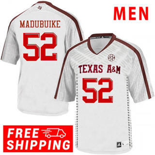 Men's Texas A&M Aggies #52 Justin Madubuike NCAA Football Jersey White