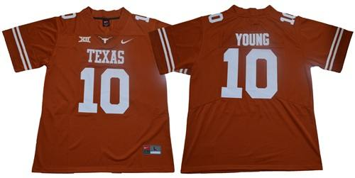 Men's Texas Longhorns #10 Vince Young Orange Limited Stitched NCAA Jersey