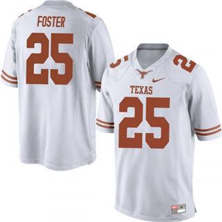 Men's Texas Longhorns #25 B.J. Foster Jersey White NCAA