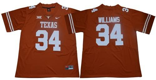 Men's Texas Longhorns #34 Ricky Williams Orange Limited Stitched NCAA Jersey