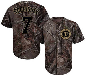 Men's Texas Rangers #7 Ivan Rodriguez Camo Realtree Collection Cool Base Stitched Baseball Jersey