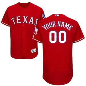 Men's Texas Rangers Customized Alternate Scarlet Flex Base Custom Baseball Baseball Jersey