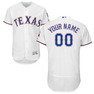 Men's Texas Rangers Customized Home White Flex Base Custom Baseball Baseball Jersey