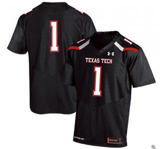 Men's Texas Tech Red Raiders #1 Black College Football Jersey
