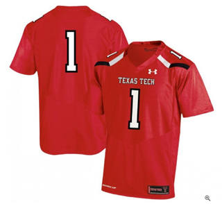Men's Texas Tech Red Raiders #1 Red College Football Jersey