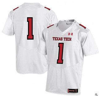 Men's Texas Tech Red Raiders #1 White College Football Jersey