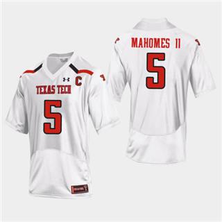 Men's Texas Tech Red Raiders #5 Patrick Mahomes II Jersey White NCAA