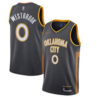 Men's Thunder #0 Russell Westbrook Charcoal Basketball Swingman City Edition 2019-2020 Jersey