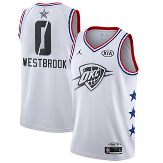 Men's Thunder #0 Russell Westbrook White Basketball Jordan Swingman 2019 All-Star Game Jersey