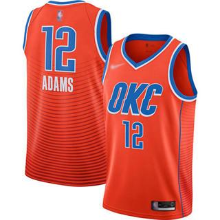 Men's Thunder #12 Steven Adams Orange Basketball Swingman Statement Edition 2019-2020 Jersey
