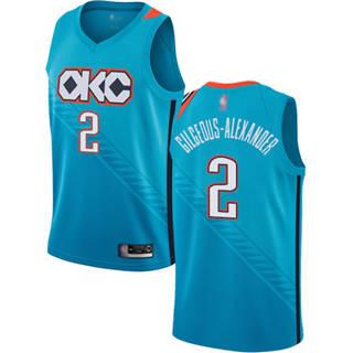 Men's Thunder #2 Shai Gilgeous-Alexander Turquoise Basketball Swingman City Edition 2018-19 Jersey
