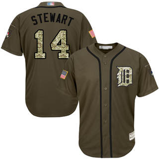 Men's Tigers #14 Christin Stewart Green Salute to Service Stitched Baseball Jersey