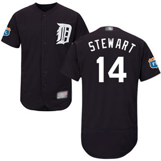 Men's Tigers #14 Christin Stewart Navy Blue Flexbase  Collection Stitched Baseball Jersey