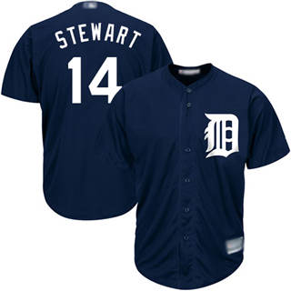 Men's Tigers #14 Christin Stewart Navy Blue New Cool Base Stitched Baseball Jersey