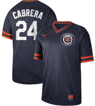 Men's Tigers #24 Miguel Cabrera Navy  Cooperstown Collection Stitched Baseball Jersey