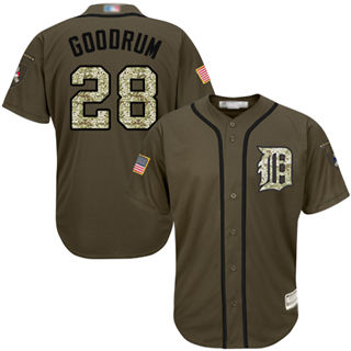 Men's Tigers #28 Niko Goodrum Green Salute to Service Stitched Baseball Jersey