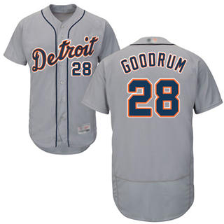 Men's Tigers #28 Niko Goodrum Grey Flexbase  Collection Stitched Baseball Jersey