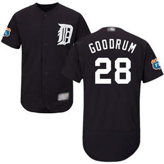 Men's Tigers #28 Niko Goodrum Navy Blue Flexbase  Collection Stitched Baseball Jersey