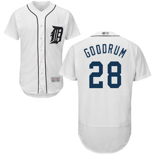 Men's Tigers #28 Niko Goodrum White Flexbase  Collection Stitched Baseball Jersey