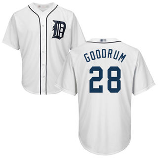 Men's Tigers #28 Niko Goodrum White New Cool Base Stitched Baseball Jersey