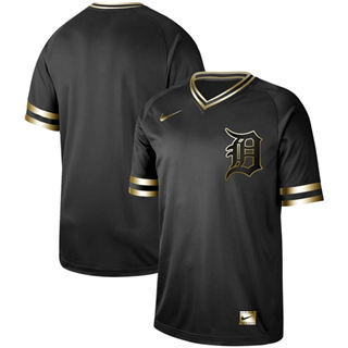 Men's Tigers Blank Black Gold  Stitched Baseball Jersey