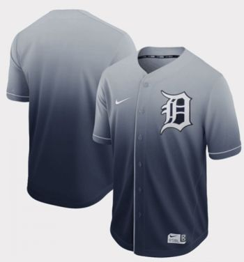 Men's Tigers Blank Navy Fade  Stitched Baseball Jersey