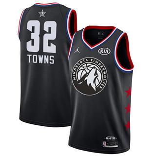 Men's Timberwolves #32 Karl-Anthony Towns Black Basketball Jordan Swingman 2019 All-Star Game Jersey