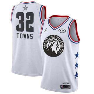 Men's Timberwolves #32 Karl-Anthony Towns White Basketball Jordan Swingman 2019 All-Star Game Jersey