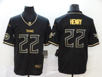 Men's Titans #22 Derrick Henry Black Stitched Football Limited Golden Edition Jersey