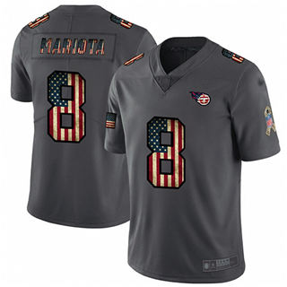 Men's Titans #8 Marcus Mariota Carbon Black Stitched Football Limited Retro Flag Jersey