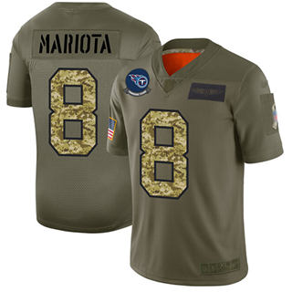 Men's Titans #8 Marcus Mariota Olive Camo Stitched Football Limited 2019 Salute To Service Jersey