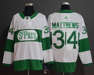 Men's Toronto Maple Leafs #34 Auston Matthews White 2019 St. Patrick's Day  Hockey Jersey