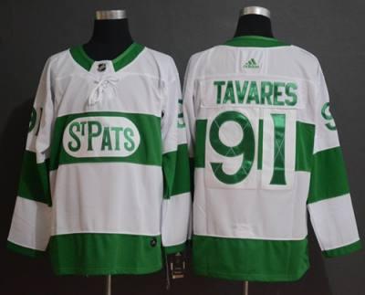 Men's Toronto Maple Leafs #91 John Tavares White 2019 St. Patrick's Day  Hockey Jersey