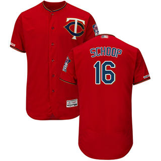 Men's Twins #16 Jonathan Schoop Red Flexbase  Collection Stitched Baseball Jersey