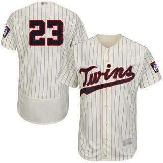 Men's Twins #23 Nelson Cruz Cream Strip Flexbase  Collection Stitched Baseball Jersey