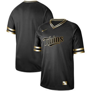 Men's Twins Blank Black Gold  Stitched Baseball Jersey