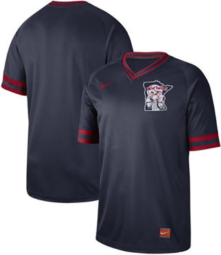 Men's Twins Blank Navy  Cooperstown Collection Stitched Baseball Jersey