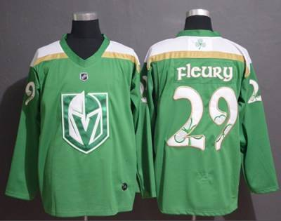 Men's Vegas Golden Knights #29 Marc-Andre Fleury Green  2019 St. Patrick's Day Stitched Hockey Jersey