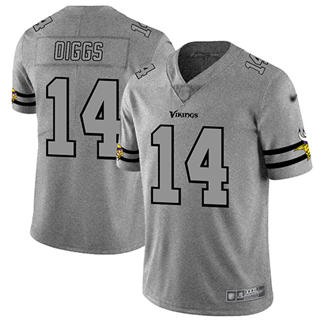 Men's Vikings #14 Stefon Diggs Gray Stitched Football Limited Team Logo Gridiron Jersey