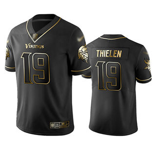 Men's Vikings #19 Adam Thielen Black Stitched Football Limited Golden Edition Jersey