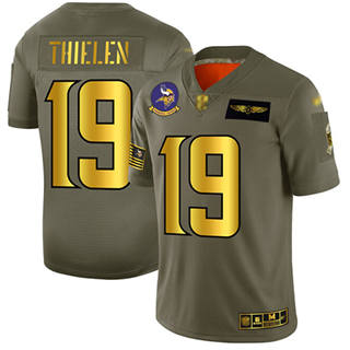 Men's Vikings #19 Adam Thielen Camo Gold Stitched Football Limited 2019 Salute To Service Jersey