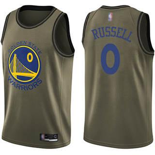 Men's Warriors #0 D'Angelo Russell Green Basketball Swingman Salute to Service Jersey