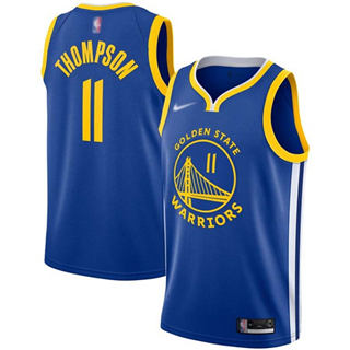 Men's Warriors #11 Klay Thompson Blue Basketball Swingman Icon Edition 2019-2020 Jersey