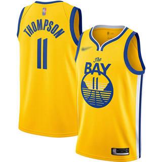 Men's Warriors #11 Klay Thompson Gold Basketball Swingman Statement Edition 2019-2020 Jersey